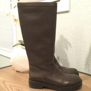 Jil Sander Navy Knee High Brown Boots Sz 7.5